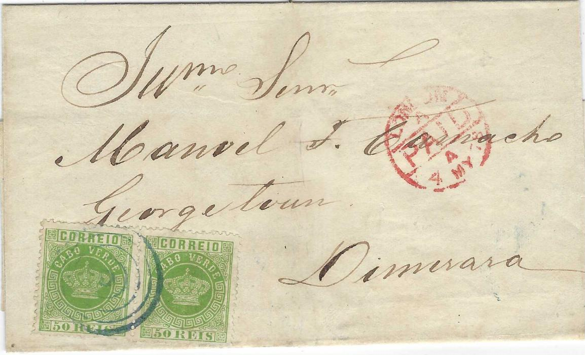 Cape Verde Islands 1878 outer letter sheet to Georgetown, British Guiana franked pair perf 12½  50r yellow-green Crowns cancelled by blue target handstamp, London PAID transit, reverse with JU 3 78 arrival cds. Fine and very rare to a most unusual destination.