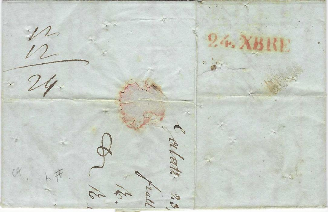 Austrian Levant (Romania) 1842 entire to Genova bearing fine straight-line GALACZ despatch, GRENZE handstamp applied in trnsit at Hungarian border, red straight-line FRANCO and large L.T., arrival backstamp. The entire was disinfected showing random small punch holes. Fine and scarce.