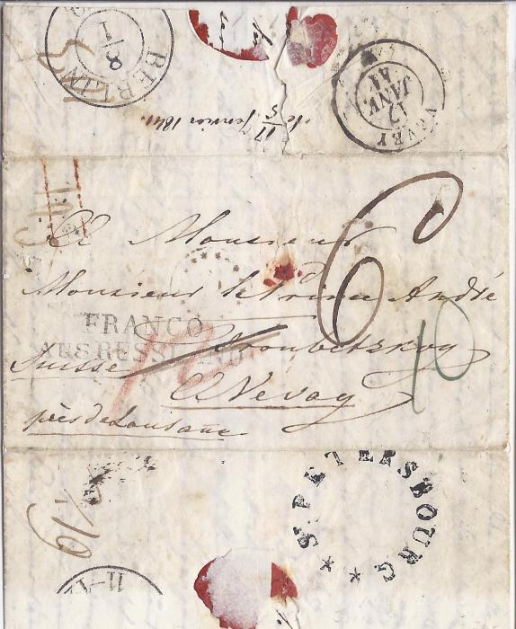Russia 1841 entire to Vevey, Switzerland cancelled on reverse French language, unframed St. Petersbourg circular handstamp, FRANCO/ AUS RUSSLAND transit applied in Berlin whose cds is on reverse, arrival backstamp. An extremely rare St Petersburg postmark, not recorded in Dobin. Baillie & Peel 1F, the three examples they record are all to Bordeaux. A rarity.