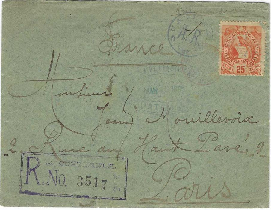 Guatemala 1895 (Mar 11) registered AR cover to Paris bearing single franking 25c. with 'R' in bars cancel, A.R. circular handstamp alongside , oval despatch date stamp and registration handstamp, arrival backstamp.