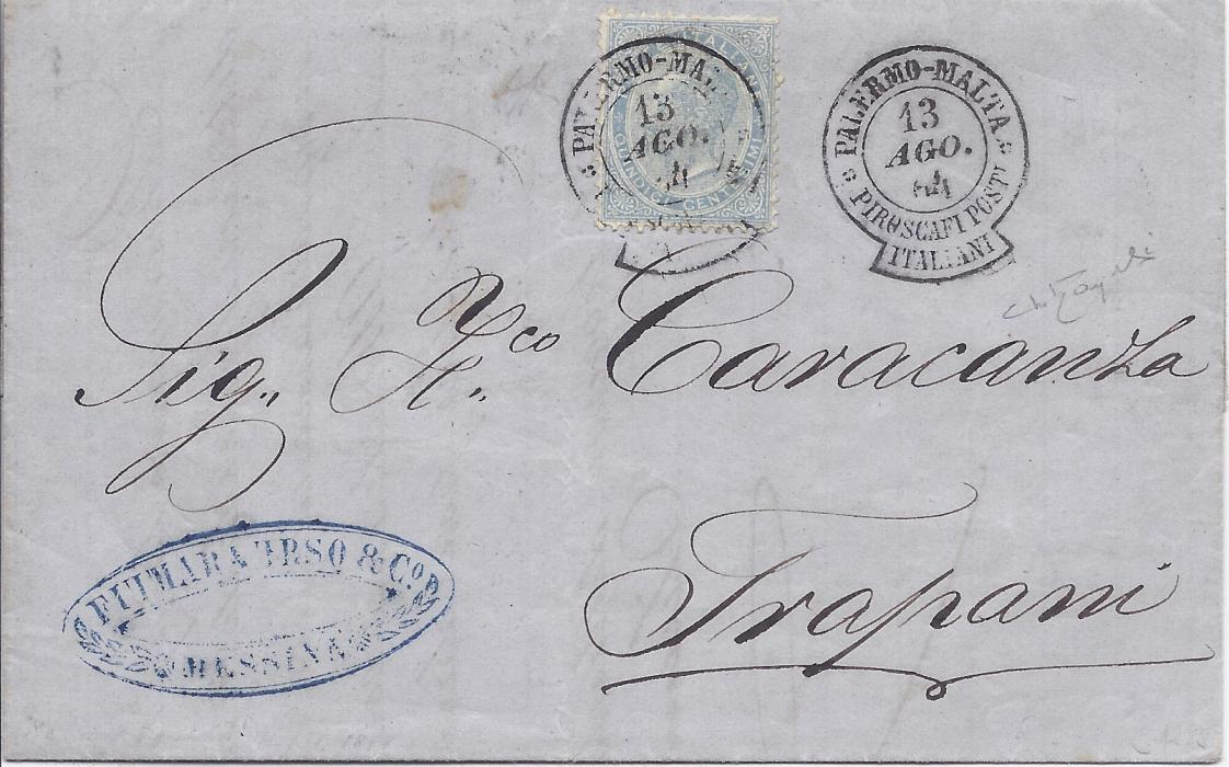 Italy 1864 pair of entires both franked 15c., the first 13 Ago from Messina to Trapani cancelled by Palermo-Malta Piroscafi Post Italiani keyhole date stamp with a fine strike alongside, the second of 6 Set from Siracusa to Genova cancelled Malta-Palermo Piroscafi Post Italiani. A fine pair of covers showing both directions of this scarce maritime date stamp.
