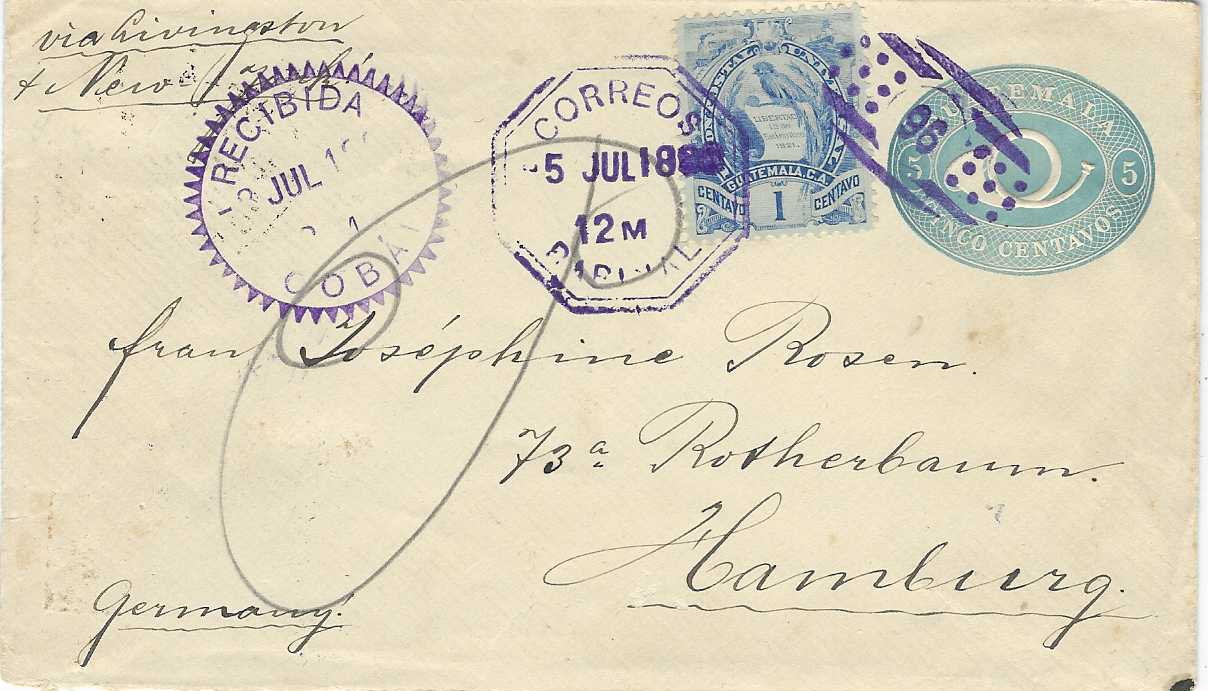 Guatemala 1896 (5 Jul) 5c. postal stationery envelope to Hamburg, uprated five 1c. 'Arms' (one on front and strip of four on reverse, that on front tied with fine '96' numeral handstamp, Parimal octagonal despatch, Recibida Coban transit to left of this, the strip of four on reverse only cancelled by transit and arrival cancels.