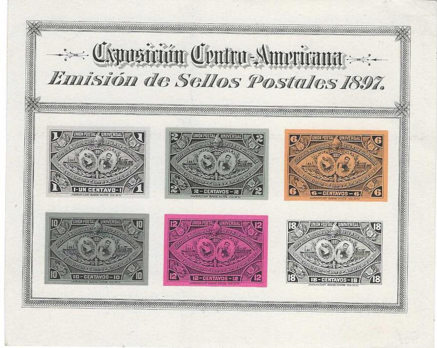 Guatemala 1897 Central American Exhibition set of 14 on two special sheets from a presentation folder, each a imperf image in issued colours; fine and rare.