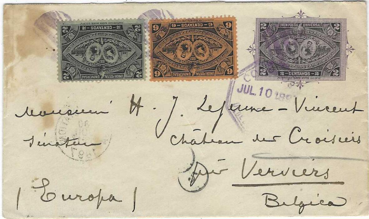 Guatemala 1897 Central American Exhibition 2c. postal stationery envelope used to Belgium, uprated 2c. and 6c. of same design tied by violet cork handstamps and unclear octagonal despatch, reverse with Dison transit and arrival cds plus violet cachet Legation De Belgique Centre-Amerique.