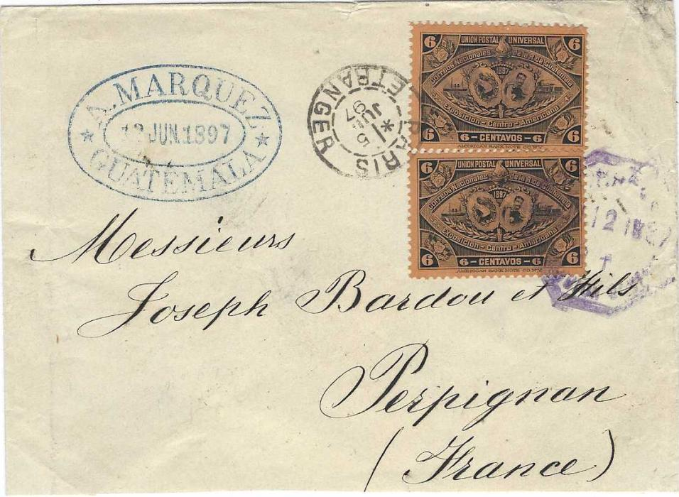 Guatemala 1897 cover to Perpignan, France franked two 6c. Central American Exhibition issue with bar cancels and one tied octagonal date stamp, company dated handstamp at left and Paris transit also tying adhesives, arrival backstamp. Slightly reduced at base.