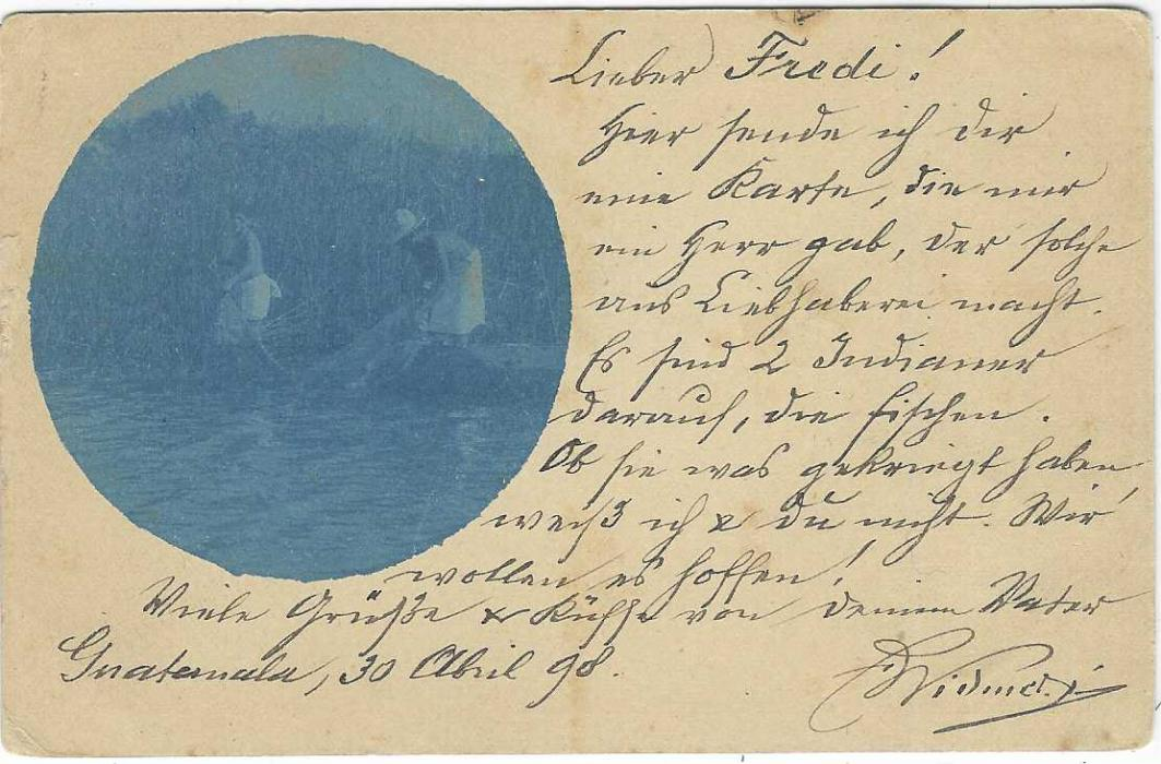 Guatemala (Picture Postal Stationery) 1898 (30 Abr) 3c. card to Pully, Switzerland cancelled by violet octagonal date stamp, Guatemala 1 handstamp to left, arrival cancels bottom left, reverse with circular blue image of Fishing with net, full message.