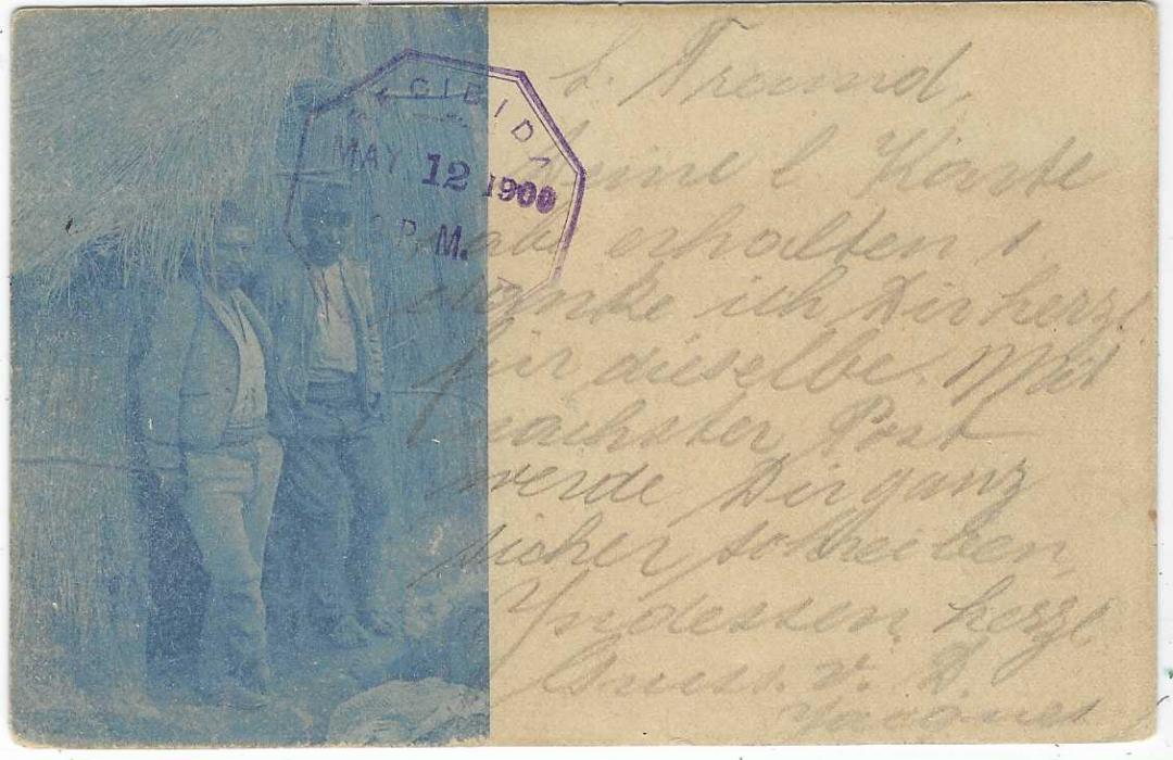 Guatemala (Picture Postal Stationery) 1900 (May 8) 3c. card to Neuchatel, Switzerland cancelled by violet octagonal Quezaltenango date stamp, Guatemala transit on reverse, arrival cds at left, reverse with part blue image of two Indian Men.