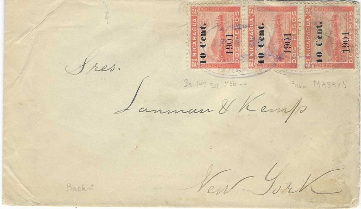 Nicaragua 1902 cover to Larman & Kemp  New York franked '10 Cent./ 1901' on 2p. vertical strip of three tied by faint Masaya date stamps, arrival backstamp.