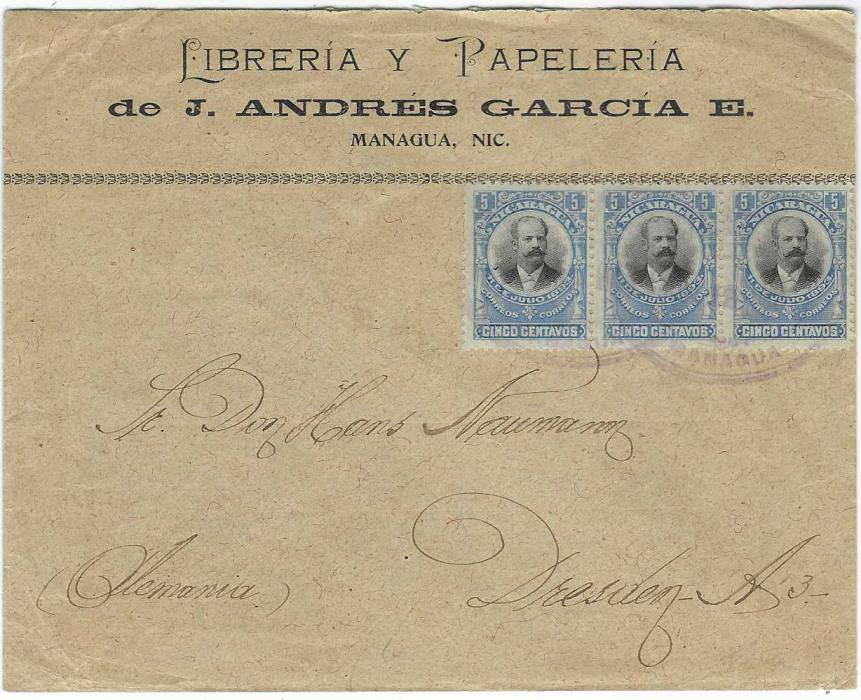 Nicaragua 1905 cover to Dresden, Germany franked 1903 Pres. Zelaya 5c. strip of three tied by violet oval Managua date stamps, reverse with Corinto transit and arrival cds.