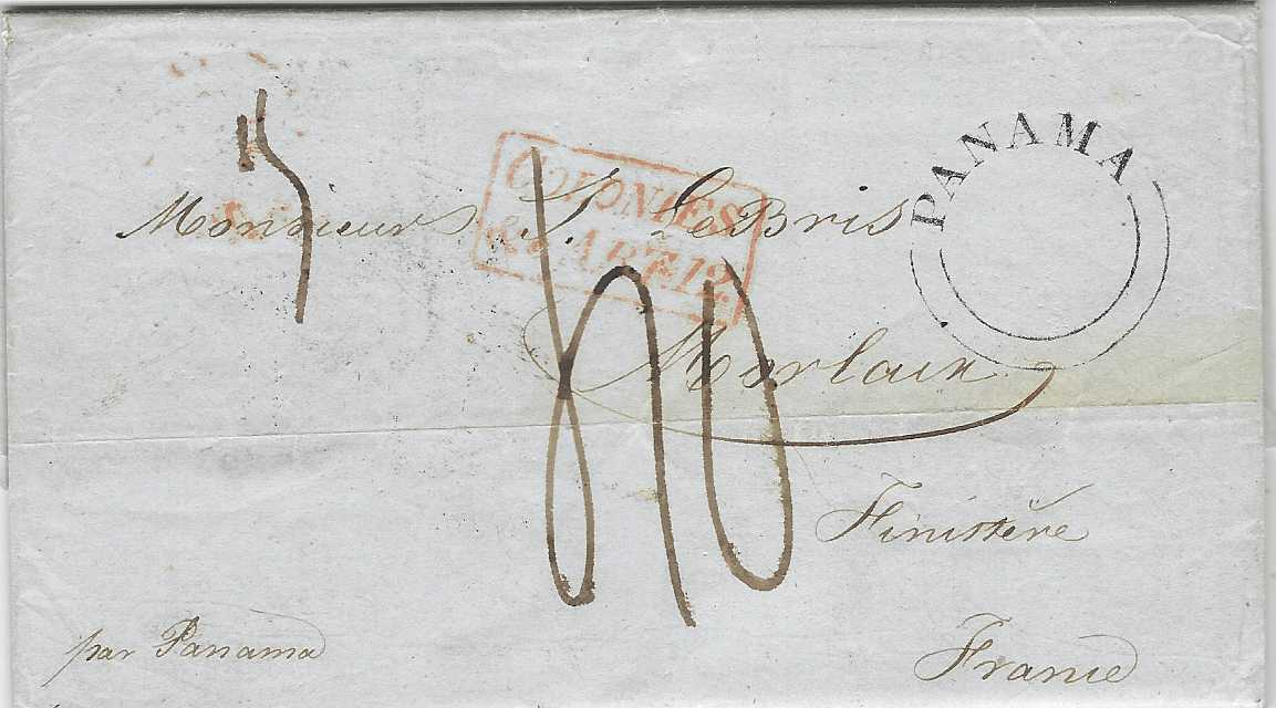 "Panama 1845 (12 Sept) entire from Arequipa to Morlaix, France, taken to Lima with manuscript endorsement on reverse ""achemine de Lima le 4 octobre1845/ par vos devoues serviteurs/ Thomas La Chambre"" and left from Callao on the Mezeppa arriving at Panama on 19th with further forwarding agents manuscript annotation, very fine of rare double arc PANAMA handstamp without dates of British Post Office, reverse with Kingston Jamaica transit date stamp of NO 1, via London with red date stamp and framed accountancy, arrival backstamp of 9 Dec. Fine and rare."