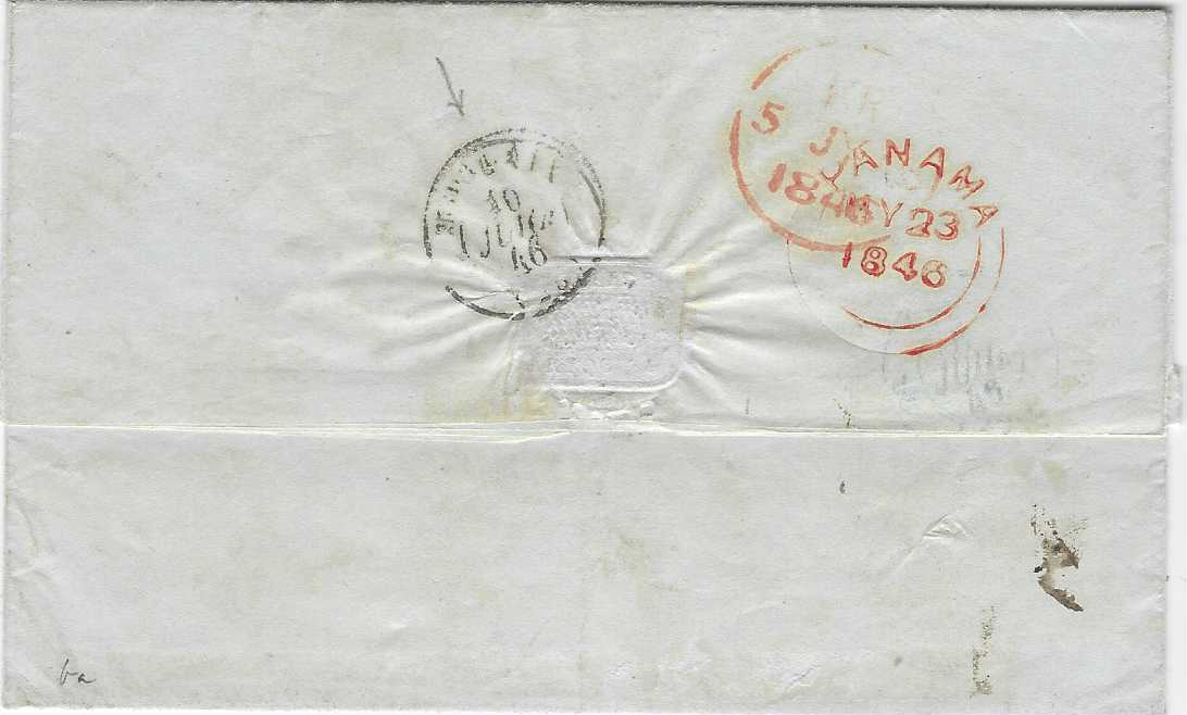 "Peru 1846 (May 7) entire originating in Arequipa to Morlaix, France, endorsed ""Via Panama"", the front with red framed accountancy COLONIES/ &c.ART.13.and ""18"" charge, reverse with fine red PANAMA double arc date stamp partly overstruck with London transit, arrival cds to left."