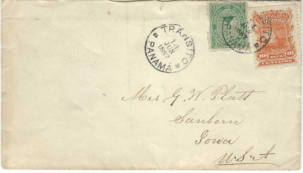 Panama 1887 (14 Jun) cover to Sanborn, Iowa, USA bearing mixed issue Salvador franking 1879-89 1c. green (small faults) and 1887-88 orange tied by TRANSITO PANAMA cds with another strike alongside, reverse with New York transit and arrival cds.