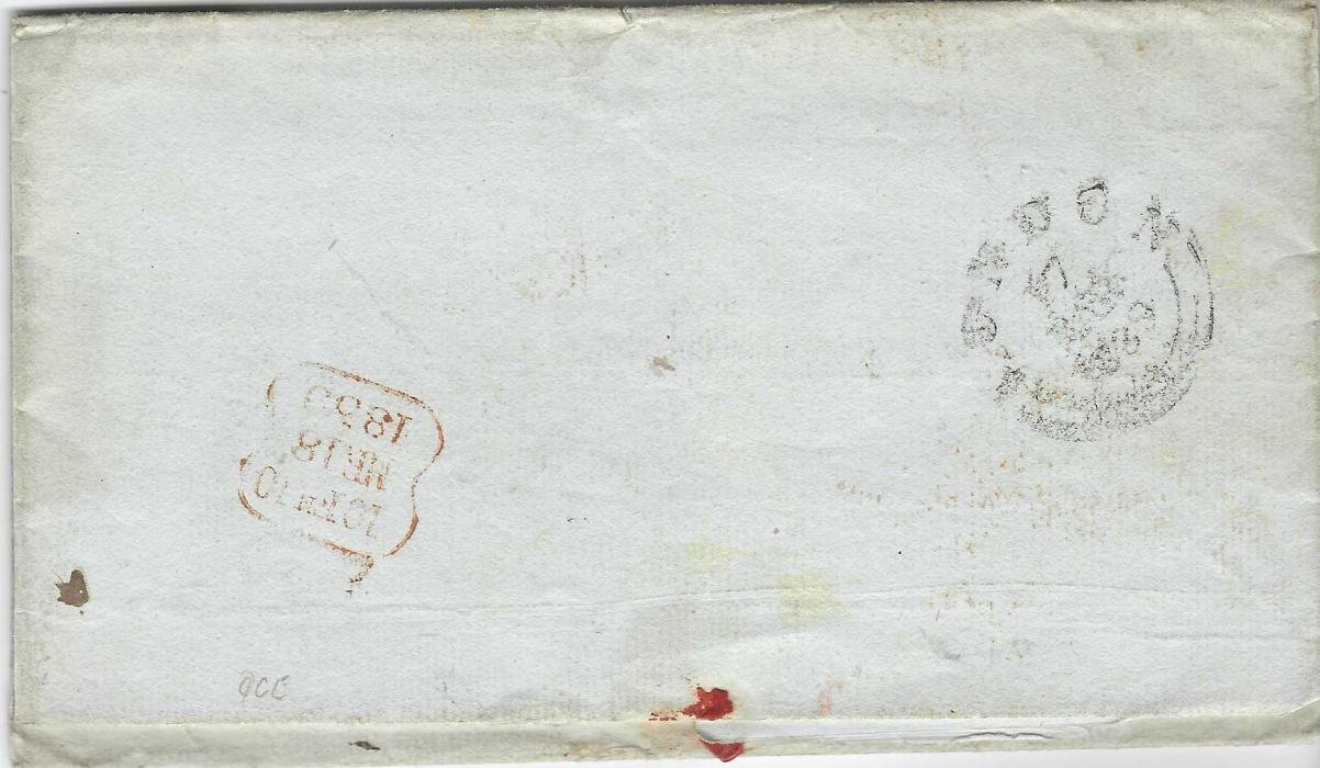 Portugal (British Military Concession Cover)  1839 (Mar) outer letter sheet to London endorsed from George Stevens on the HMS Donegal in Lisbon and countersigned by Lieut. Duthy. Endorsed '1'(d) for the military concession and with London cancels front and back, at bottom left very fine strike of the rare Crowned To be/ delivered/ FREE handstamp indicating no London local charges due. Sold at Cavendish Jan 2004 sale for £1700. Fine Exhibition item. The H.M.S. Donegal landed Portuguese Seamen taken from the slaver 'Diligente' instead of prosecuting them for slave trading, as agreed by the Foreign Office.