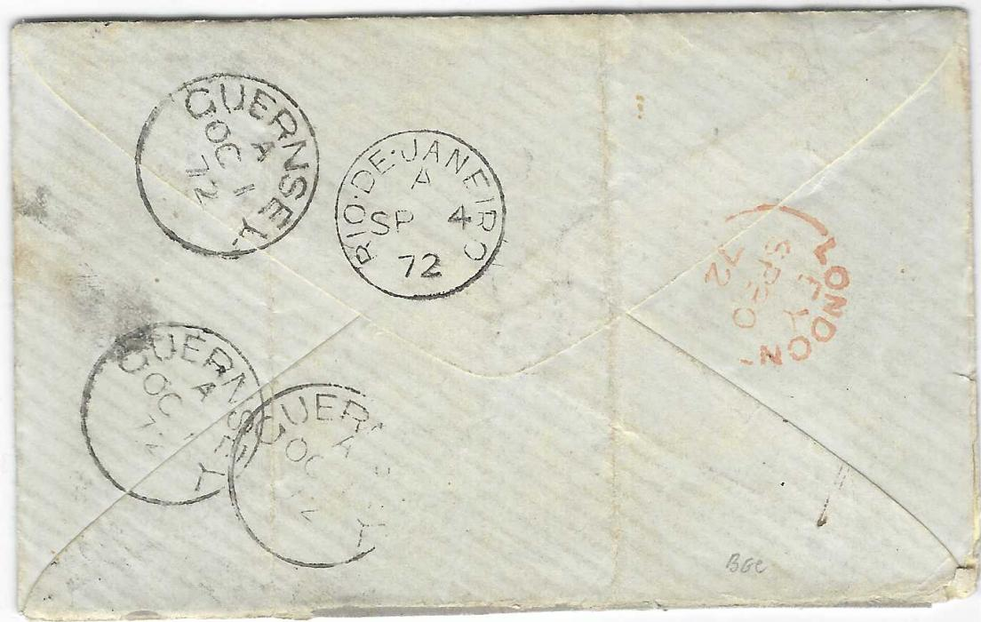 """Great Britain (Brazil) 1872 (SP 4) cover to Guernsey franked 1867-80 6d., OE, plate 8 tied by unclear cancel, reverse with fine Rio De Janeiro cds, on front fine and scarce red Insufficiently/ R de J/ Prepaid, manuscript """"6"""" denoting amount of postage due, reverse with red London transit of SP 30 and arrival cancels of OC 1; some slight splitting to envelope on right side and vertical crease clear of stamp."""