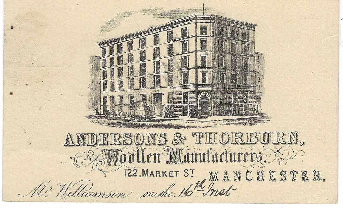 Great Britain (Advertising Stationery) 1878 1/2d.brown postal stationery card with fine illustrated advertisement for 'Andersons & Thorburn/ Woollen Manufacturers' in Manchester, fine used from Manchester to Derby.