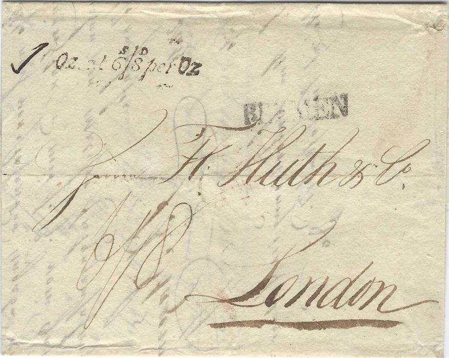 Great Britain (Accountancy) 1817 incoming entire fr0m Bremen to London with straight-line despatch handstamp, on arrival unframed OZ at 6s/8d per Oz handstamp applied, F.P.O. arrival backstamp.