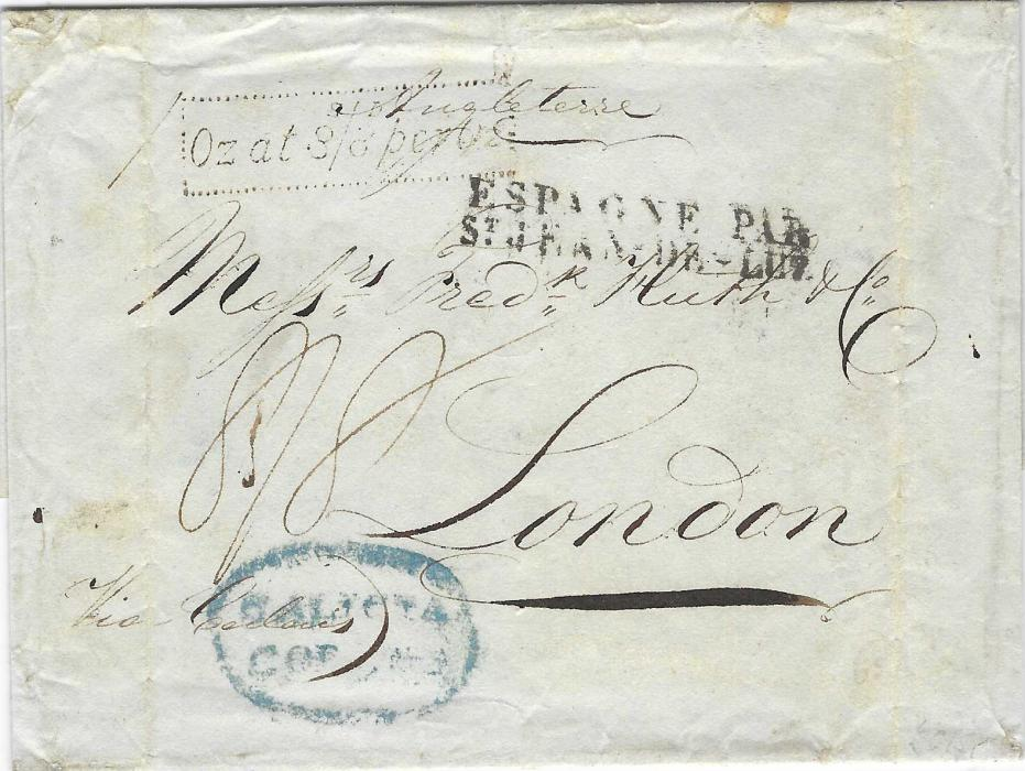 "Great Britain (Accountancy) 1830 outer letter sheet to London struck with an oval-framed GALICIA/ CORUNA handstamp, a two-line ESPAGNE PAR/ St. JEAN-DE-LUZ'  French entry handstamp and annotated ""Via Calais"". On arrival the front struck with dotted framed 'Oz at 8s/8d per Oz' handstamp applied at the London Foreign Branch. Light vertical filing creases at sides."