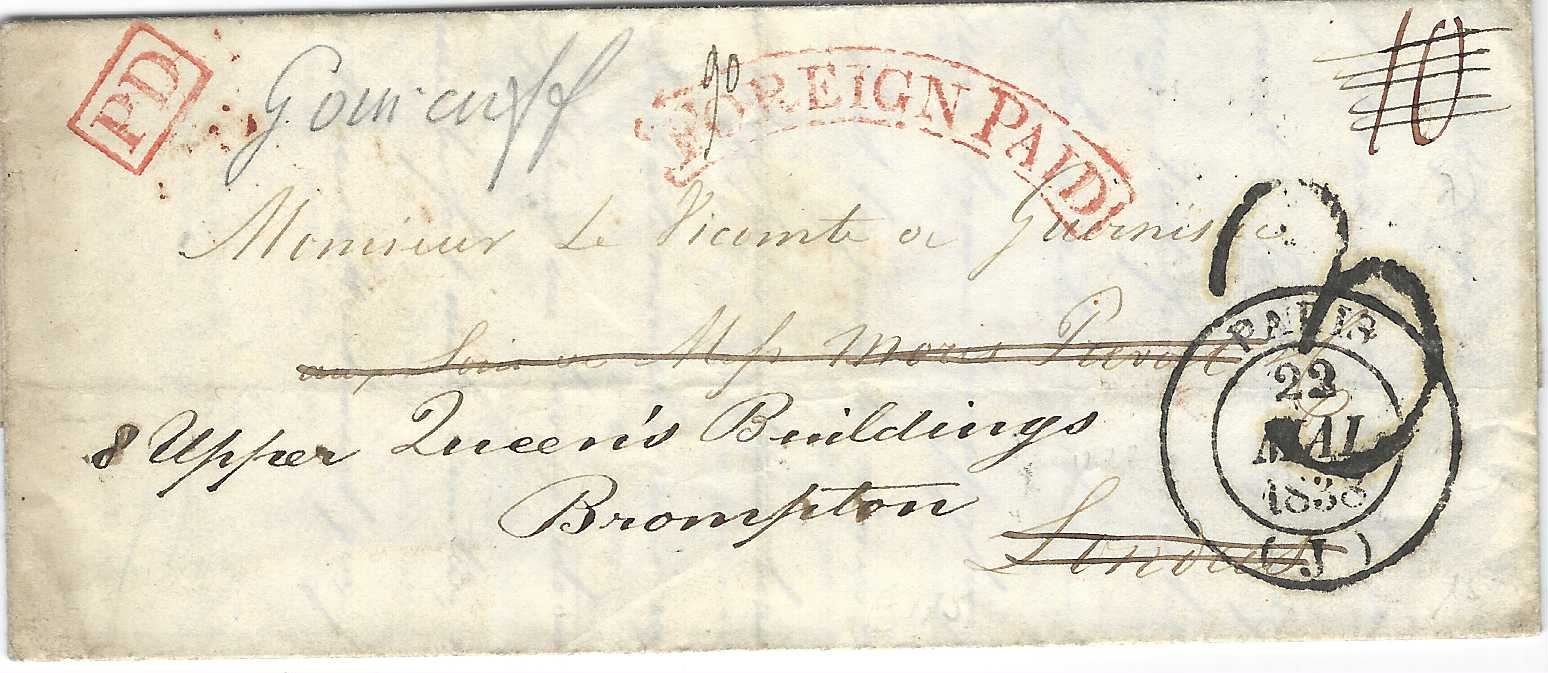 "Great Britain 1838 (22 Mai) entire to London from Paris, bearing red framed arc FOREIGN PAID, redirected to Brompton and rated ""3""d, reverse with unframed London, two-line T.P./ Chief Office handstamp and two red dated handstamps."