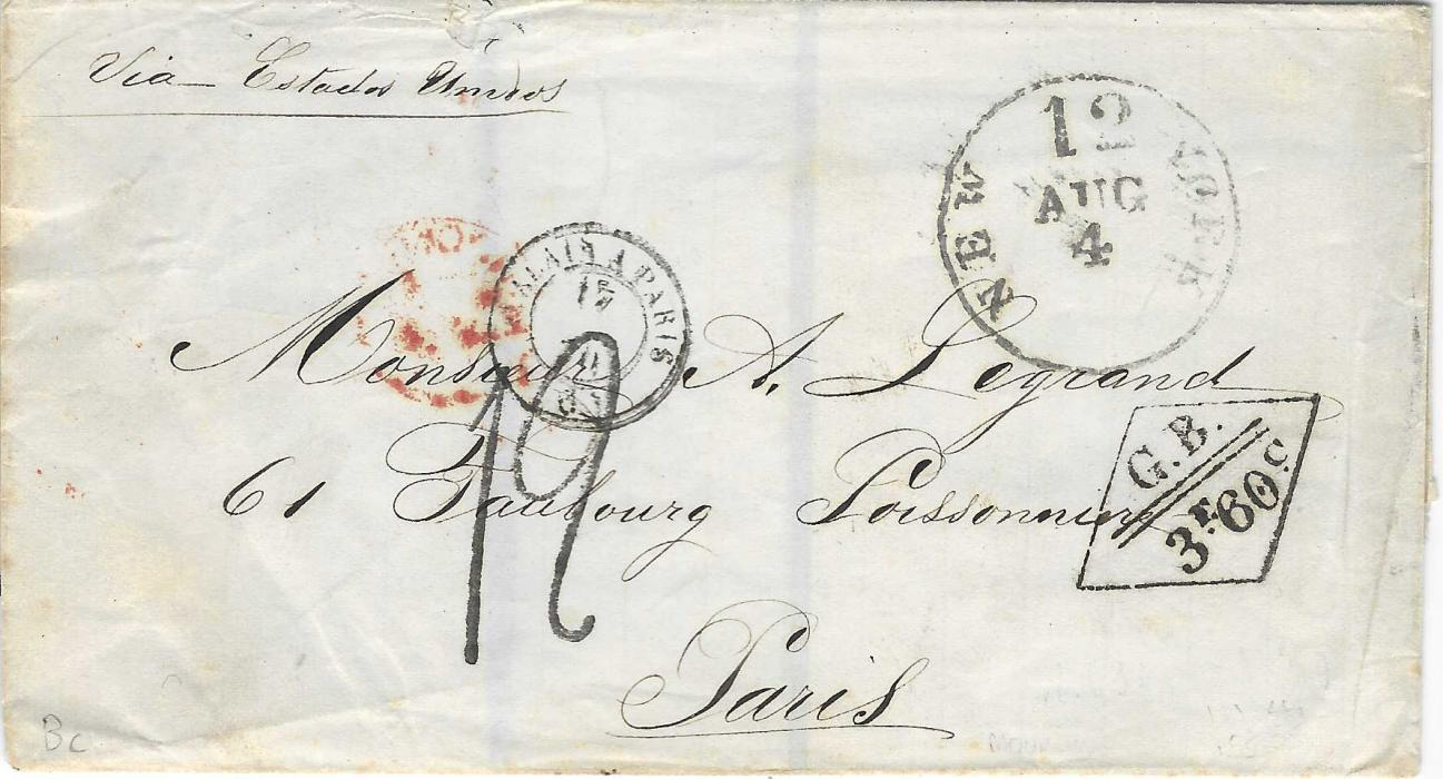 Great Britain 1870 mourning wrapper from unknown South American provenance addressed to Paris, France, annotated to travel via the United States, the front bearing New York '12' transit and faint London cds as well as fine diamond-framed accountancy 'G.B./ 3f.60c., Calais A Paris tpo and rated '12' decimes on arrival. Some damage to rear.