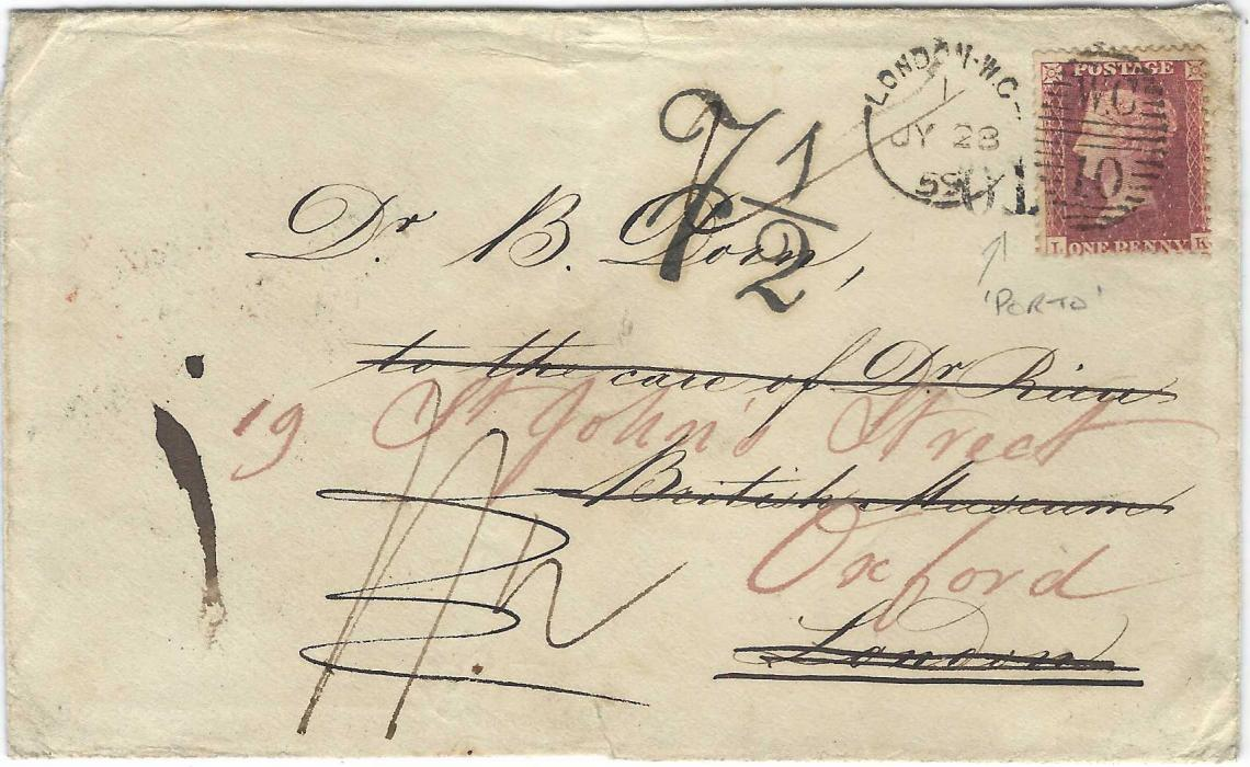 Great Britain 1859 cover addressed care of a Doctor at the British Museum, forwarded to Oxford, from St Petersbourg, Russia with diamond framed despatch on reverse which also displays a Gt Russell St, a red London and an Oxford cds, on forwarding envelope to Oxford a 1d. red has been added over 'PORTO' handstamp with fine '7 1/2 ' charge handstamp alongside. Torn bottom flap to envelope otherwise fine and scarce.