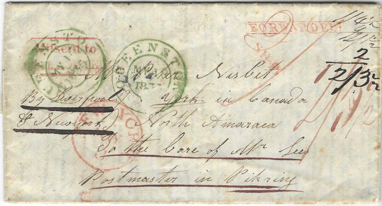 "Great Britain (Scotland) 1835 Missent to Falmouth Packet: Entire addressed to Pickering, Canada, endorsed ""By Liverpool and New York"" but forwarded in error to Falmouth where framed 'Mifsent to/FALMOUTH' applied and returned to Liverpool, at New York 'SHIP' and 'FORWARDED'  handstamps added plus cds, reverse with red Upper Canada and Haddington date stamps, two green Queenston cds on front, manuscript ""2/5 ½"" charge at right; fine and unusual."