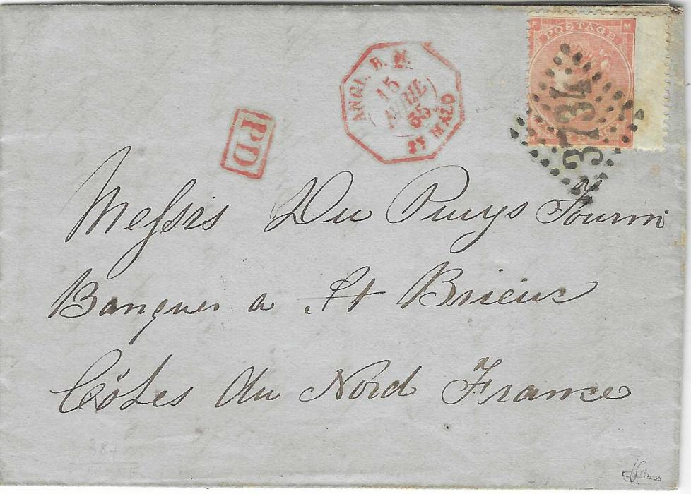 Great Britain (Jersey) 1865 entire from St Helier to a bank at St Brieux, Cotes du Nord France franked 1862-64 4d., MF tied by fine large numeral lozenge '3734', to left with red framed PD  and octagonal ANGL. B.M. St Malo date stamp, reverse with arrival cds.