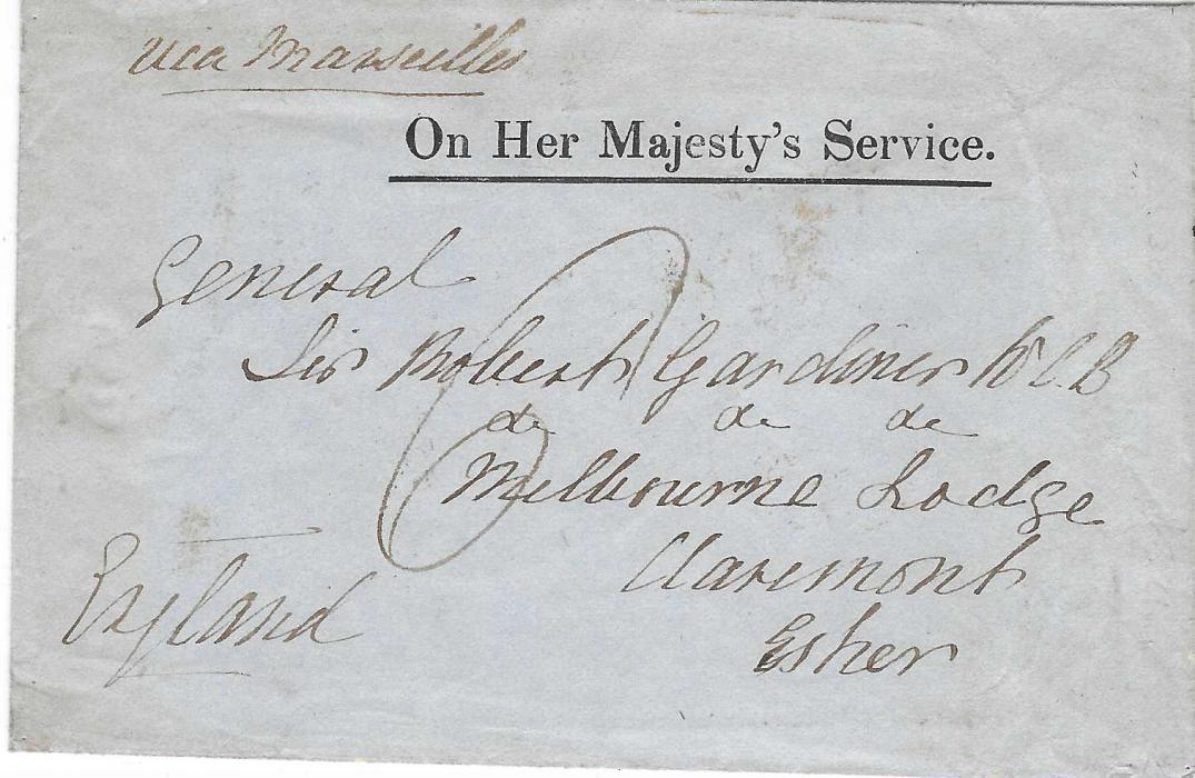 "Great Britain (Crimean War) 1855 stampless 'On Her Majesty's Service' envelope with embossed back flap to England, endorsed ""via Marseille"", POST OFFICE BRITISH ARMY A cds of Constantinople. The cover has been charged ""6"" in spite of the heading."
