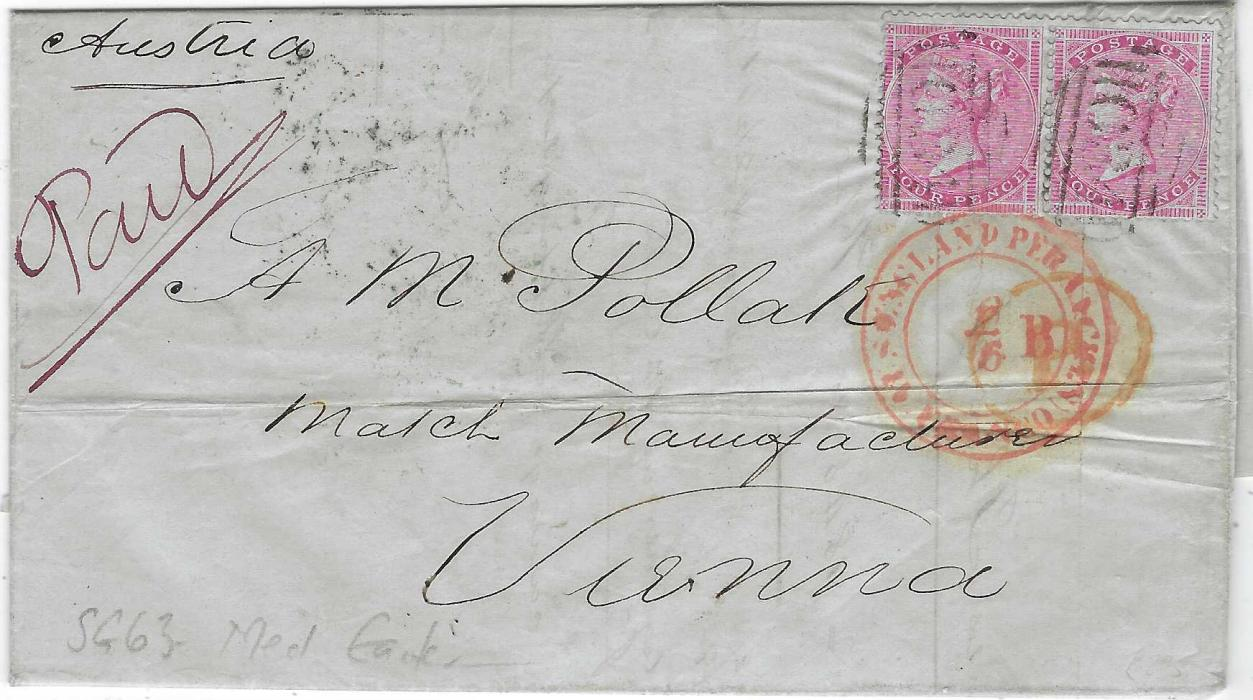Great Britain 1856 entire to Vienna, Austria, franked pair 4d. on blue paper, watermark medium garter, tied 634 numeral obliterators, red Aus England Per Aachen Franco date stamp, reverse with blue OLDBURY cds, Birmingham and London transits and arrival cds.