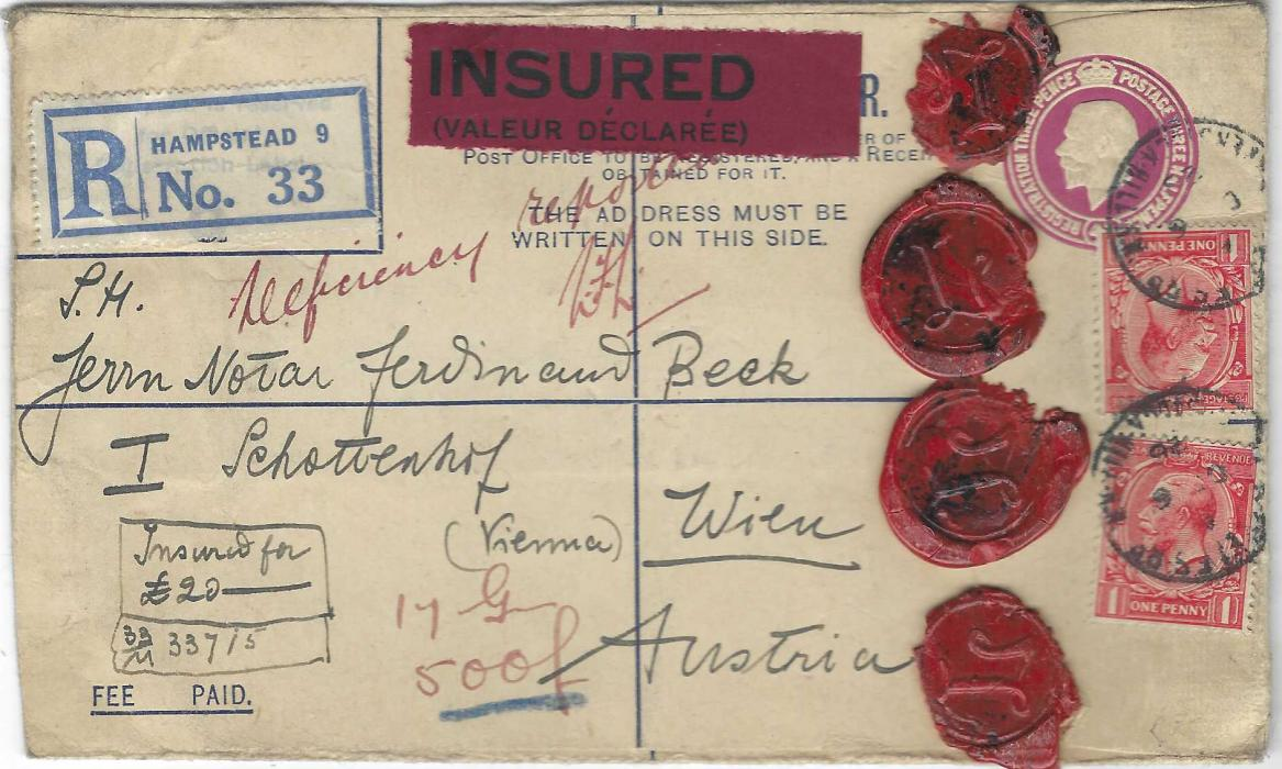 """Great Britain 1928 (DE 6) 4½d. registered postal stationery envelope with manuscript endorsement for £20 and red label affixed at top, further endorsed """"Deficiency reported"""" and signed, uprated then with two 1d. tied Steeles Road, Haverstock Hill cds, reverse with Registered date stamp."""
