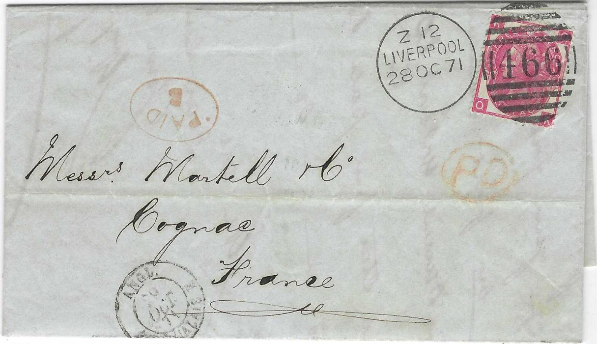 Great Britain 1871 (28 OC) entire to Cognac, France franked 3d., QK, plate 6, tied 466 Liverpool duplex, oval-framed PAID/B handstamp and PD in red, French entry cds at base and arrival backstamp.