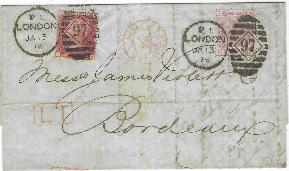 Great Britain 1876 (Ja 13) entire to Bordeaux franked 2 1/2d., AC, plate 3 tied London numeral duplex, red framed L 1 handstamp and 1d., TC, plate 156 tied by same duplex, red French entry cds and arrival backstamp