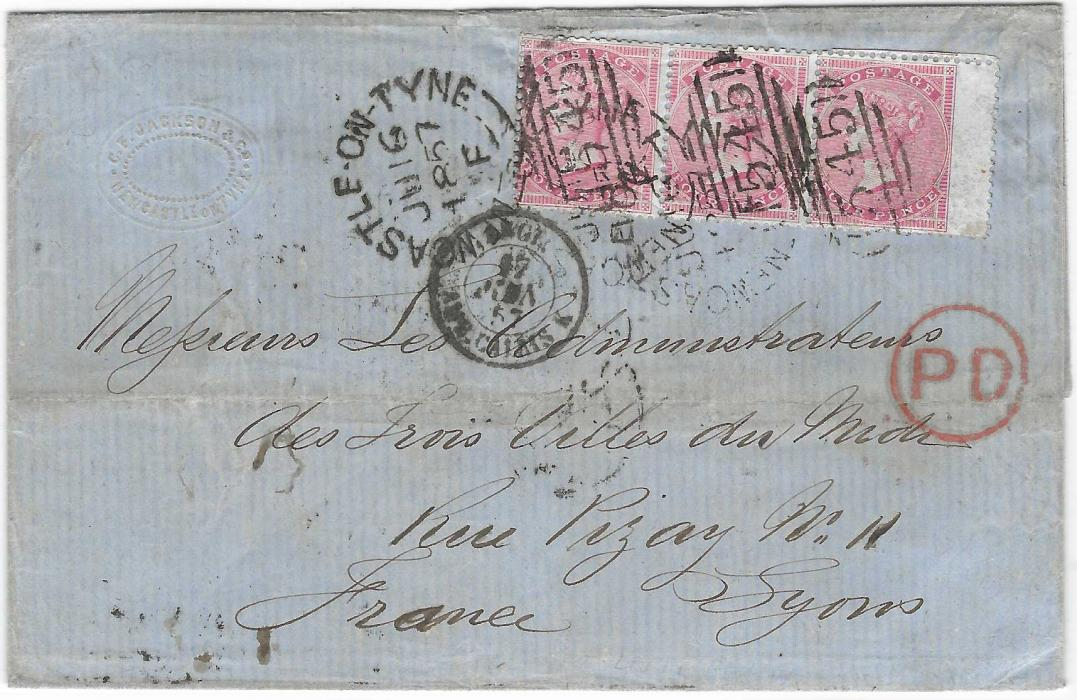 Great Britain 1857 (JU 16) entire to France franked 1855-57 watermark large Garter 4d. rose horizontal strip of three from Newcastle and cancelled 545 duplex, red circular framed PD, French entry cds, reverse with Paris andyon cancels