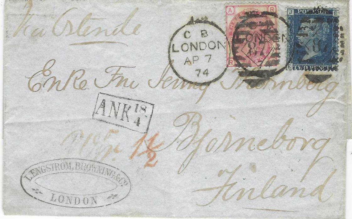 Great Britain 1874 (AP 7) outer letter sheet to Bjorneborg, Finland bearing 1858-79 2d., plate 14 and 1873-80 3d., plate 12 tied London '87' duplex, red '1½' accountancy handstamp, framed 'ANK 18/4' arrival handstamp, reverse with St Petersburg transit cds.