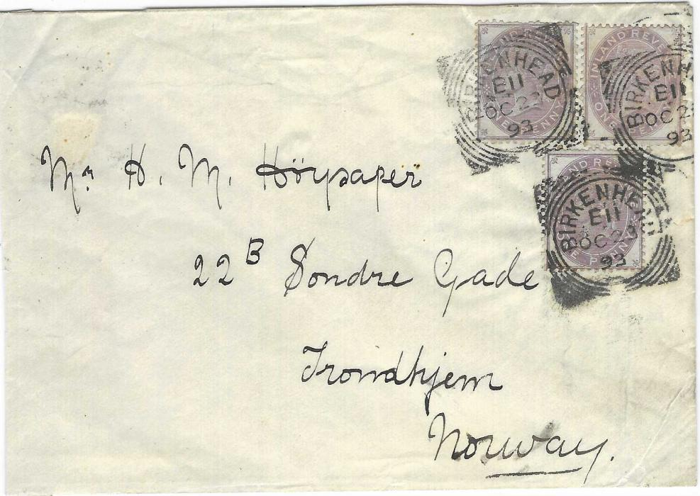 Great Britain 1893 (OC 23) cover to Trondheim, Norway franked three1867-81 1d. purple Postal Fiscal, Die I tied by three Birkenhead square circles; sellotape repair on reverse, good looking with strong colour.