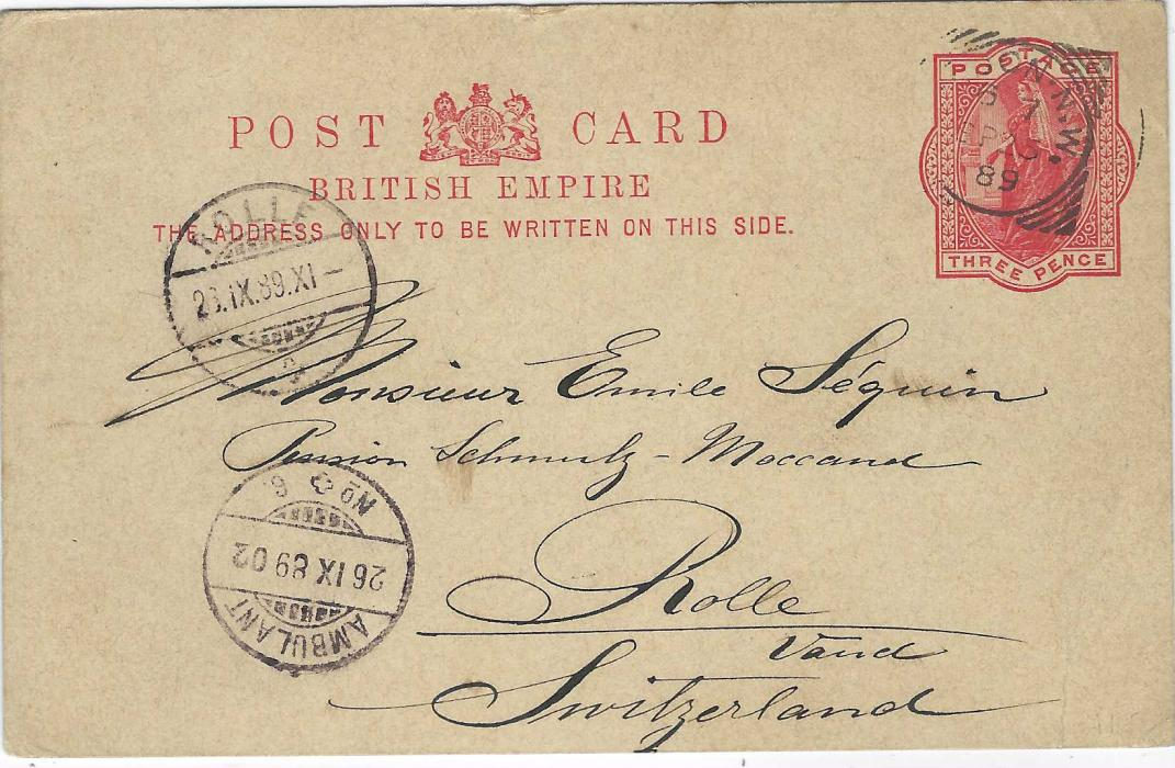 Great Britain 1889 3d. Jubilee postal stationery card to Rolle, Switzerland bearing square circle London N.W. date stamp, the front also showing Ambulant No.6 and arrival cds; good condition with message.
