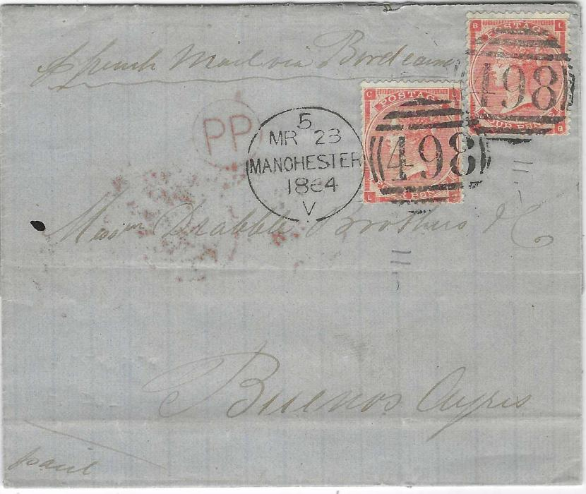 Great Britain 1864 (MR 23) entire to Buenos Aires, endorsed