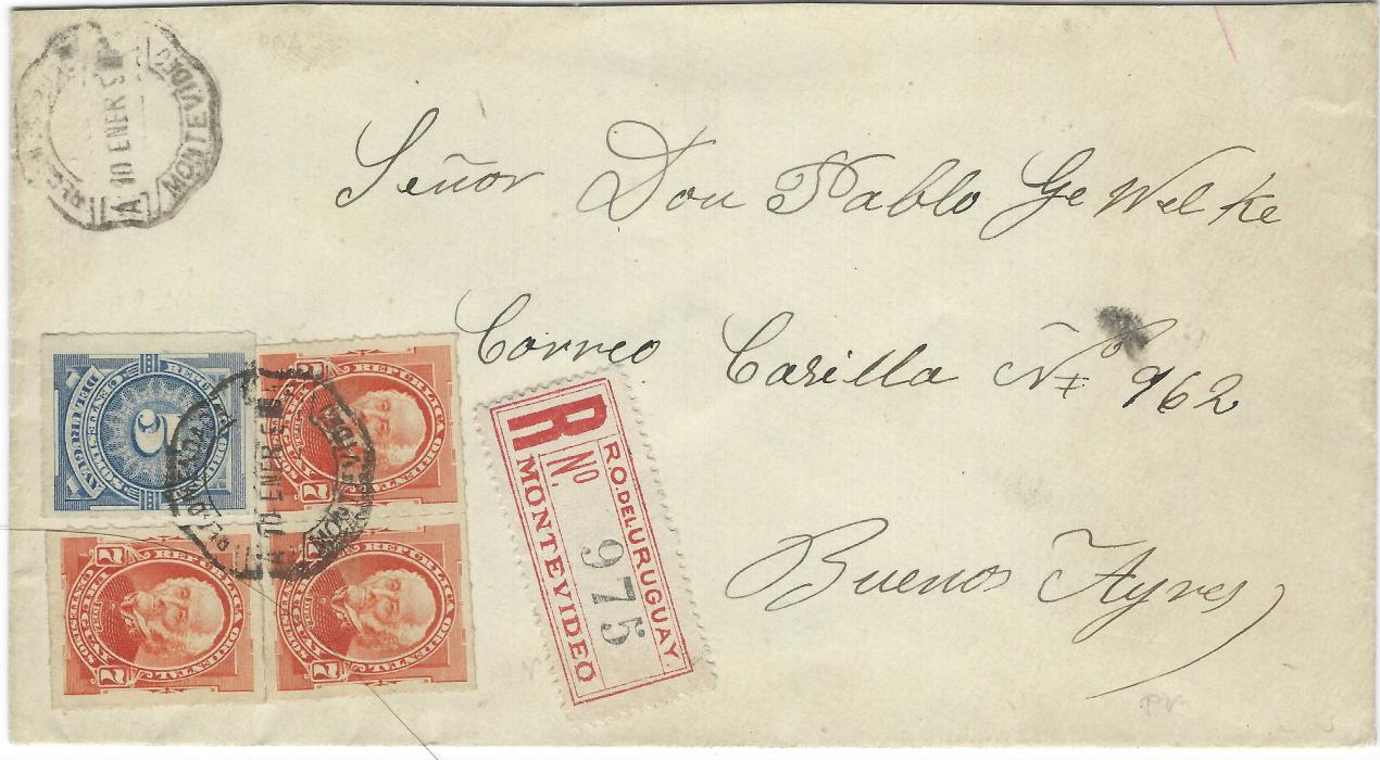 Uruguay 1890 (10 ener) registered cover to Buenos Aires franked 1888 New Colours, rouletted 5c. Numeral and three 7c. General Artigas cancelled by single octagonal Montevideo date stamp, Certificados cds on reverse.