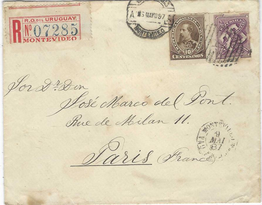 Uruguay 1887 (6 Mayo) registered cover to Paris, franked 1884-86 10c. M. Santos and 20c. Numeral tied by barred 'A' of Montevideo, red registration label top left, French maritime date stamp Montevideo Paq. Fr. No.4, arrival backstamp; part of reverse excised.