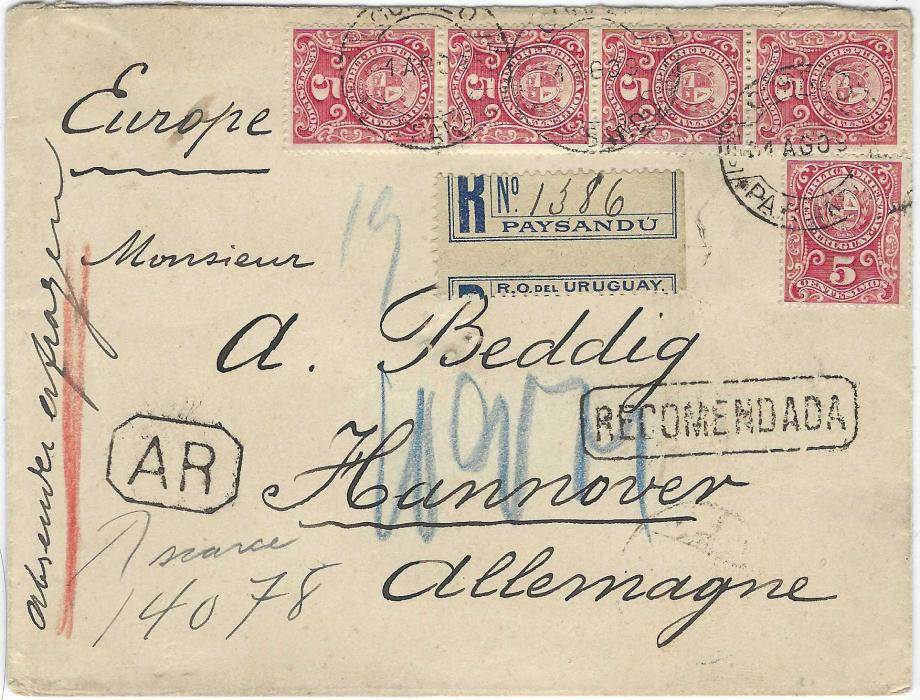 Uruguay 1895 (14 Ago) registered AR cover to Hannover franked 1894 New Colour 5c Arms in vertical strip of four and single tied Paysandu cds with misperforated registration label, framed RECOMENDADA and AR handstamps, arrival backstamps.