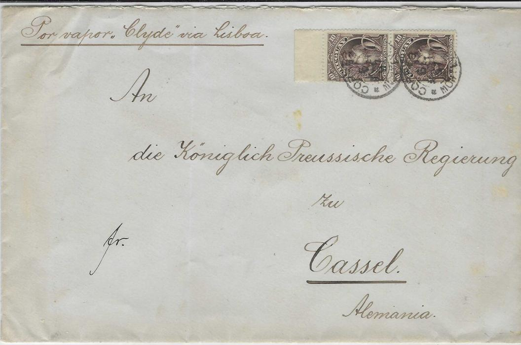 "Uruguay 1897 (6 Set) cover to Cassel, Germany, franked 1895-96 'Ceres' 10c. marginal pair tied by two Montevideo cds, annotated ""Por vapor ""Clyde"" via Lisboa"", arrival backstamp with blue scallop label for German Consulate in Uruguay; vertical filing crease clear of stamps and label."