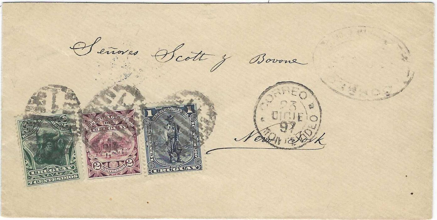 Uruguay 1897 (23 Dicie) envelope to New York franked 1895-96 Pictorial 1c., 2c. and 7c. tied by barred ovals with Montevideo cds in association, arrival backstamp. The 7c Bull's Head a good stamp on cover.