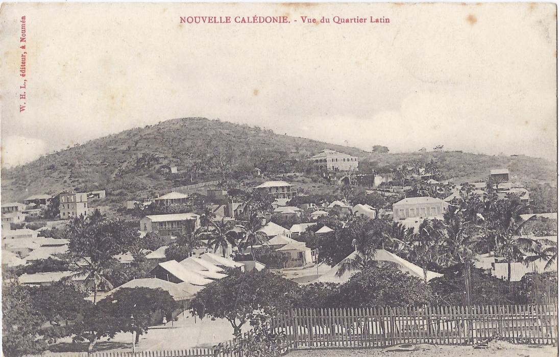 New Caledonia 1900s card entitled Vue de Quartier Latin unused