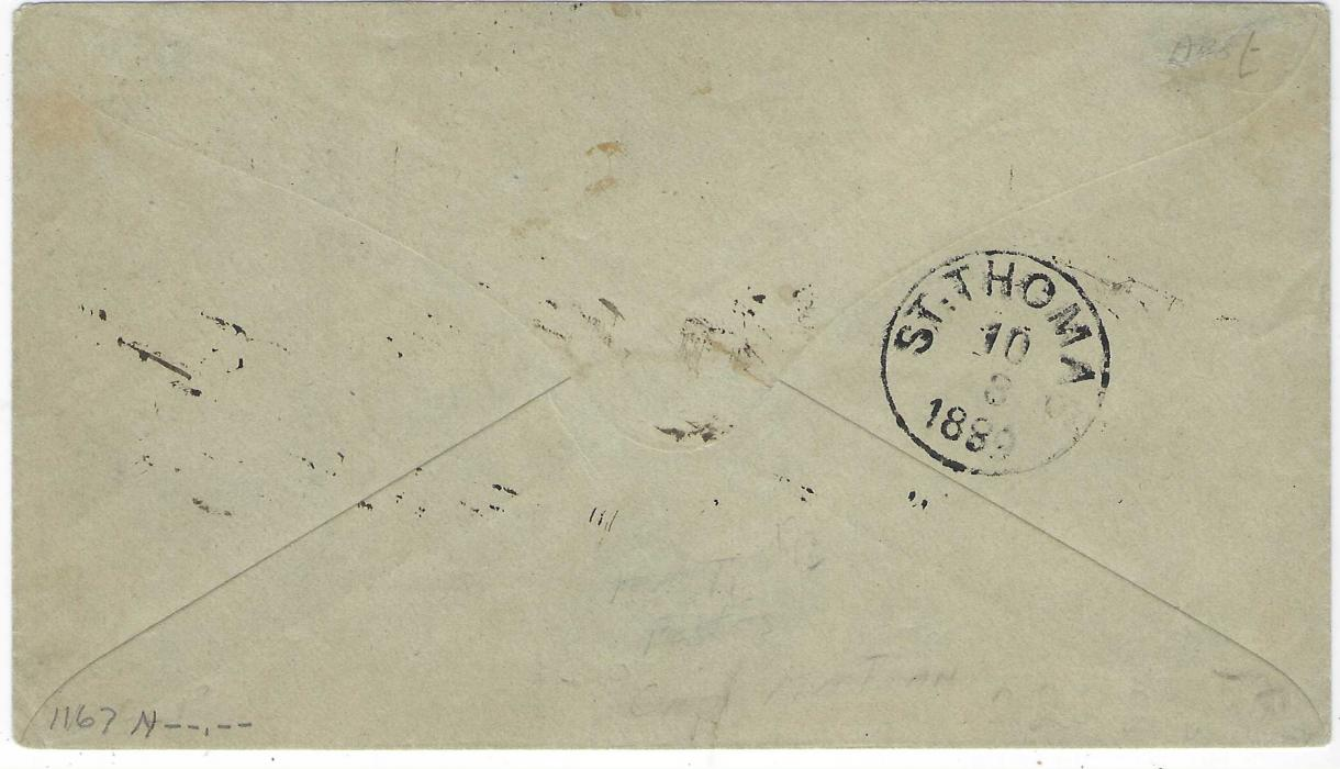 Haiti 1889 (5 Aout) cover to St. Thomas, Danish West Indies bearing fine negative seal Haiti/ Postes/ Cap Haitien with cds in association alongside, arrival backstamp. Fine and clean condition.
