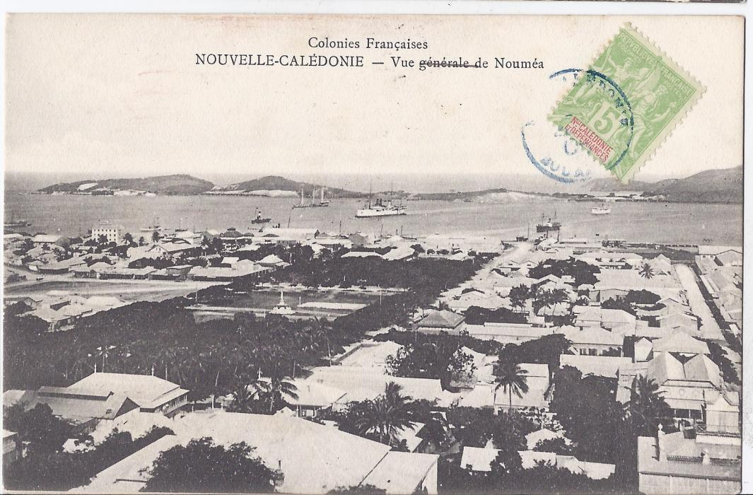 New Caledonia 1906 card entitled Vue Generale de Noumea franked on front, to Australia