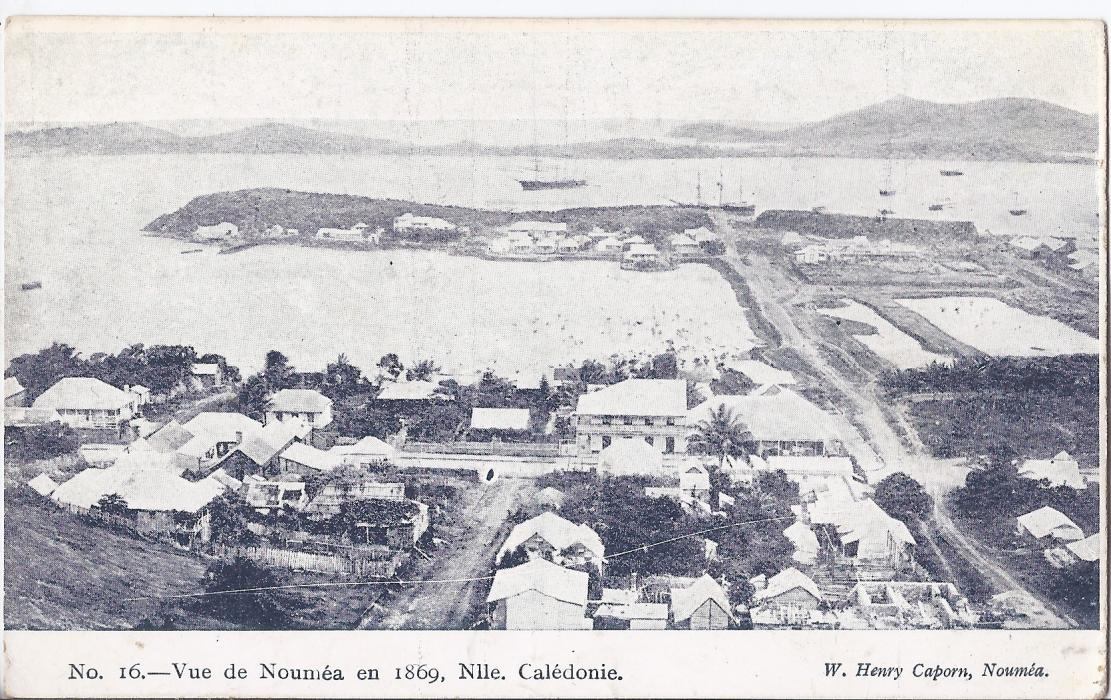 New Caledonia 1900s card entitled No. 16 - Vue de Noumea en 1869, unused