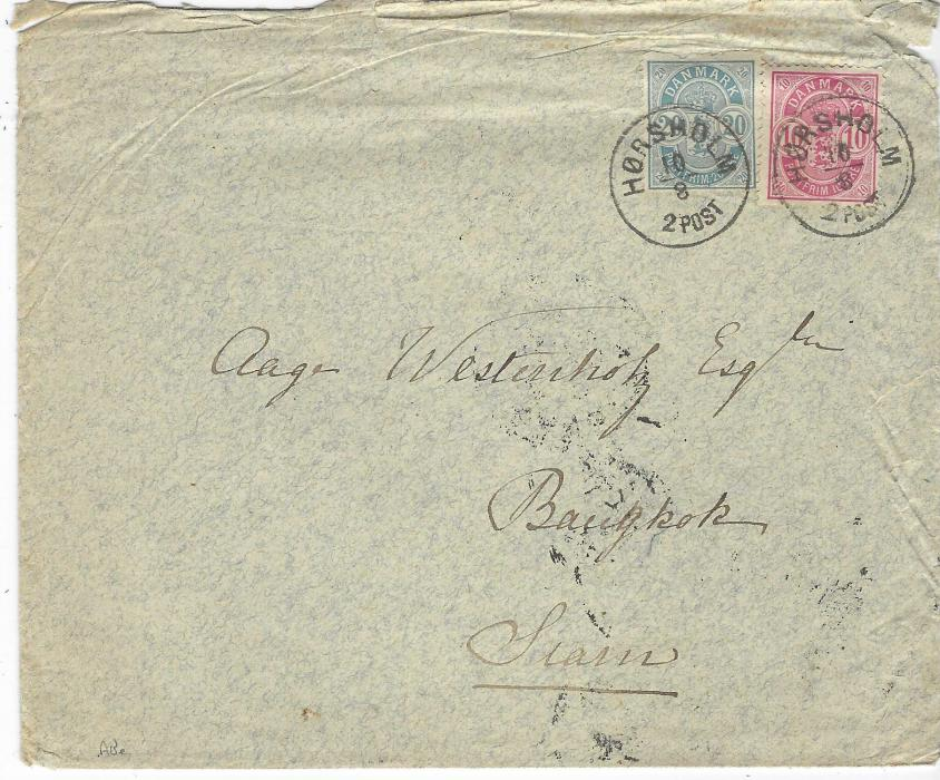 Thailand (Incoming Mail) 1887 (10/8) cover from Horsholm, Denmark to Bangkok, with Italian transit backstamps and very fine arrival Bangkok P PAID. Roughly opened at top and small tear at right.
