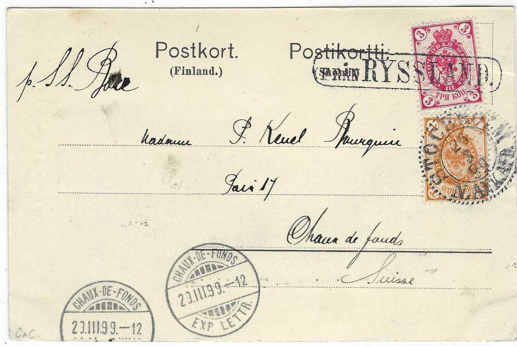 Russia (Maritime) 1899 Finnish picture postcard to Chaux-De-Fonds, Switzerland bearing mixed franking Russia 3k. cancelled framed 'Fran RYSSLAND' and Finland 1k. cancelled Stockholm cds, arrival cancels at base. A fine and scarce combination.