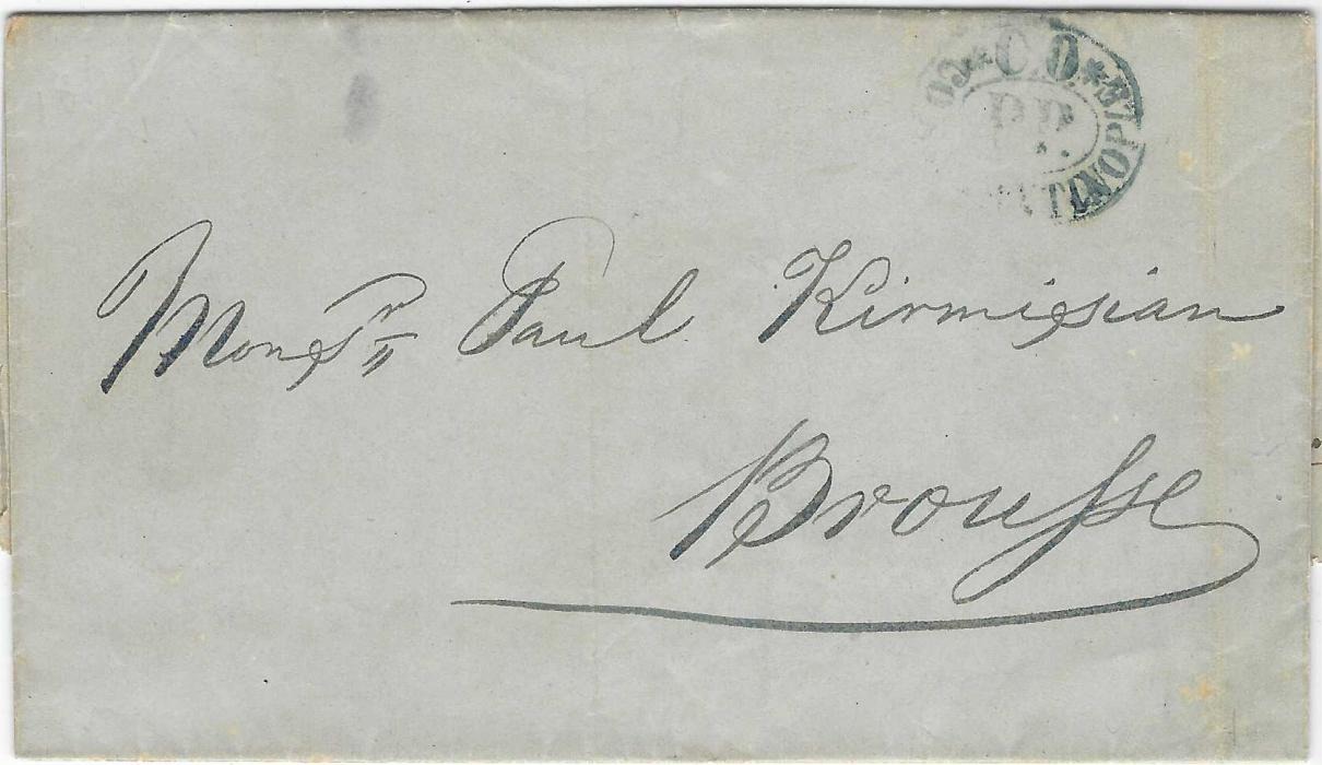 Turkey (Maritime Mail) 1854 (27 Feb) entire from Constantinople to Brousse handstamped blue oval *C.O.* CONSTANTINOPLE/ P.P.; a fair strike of a difficult cancel.
