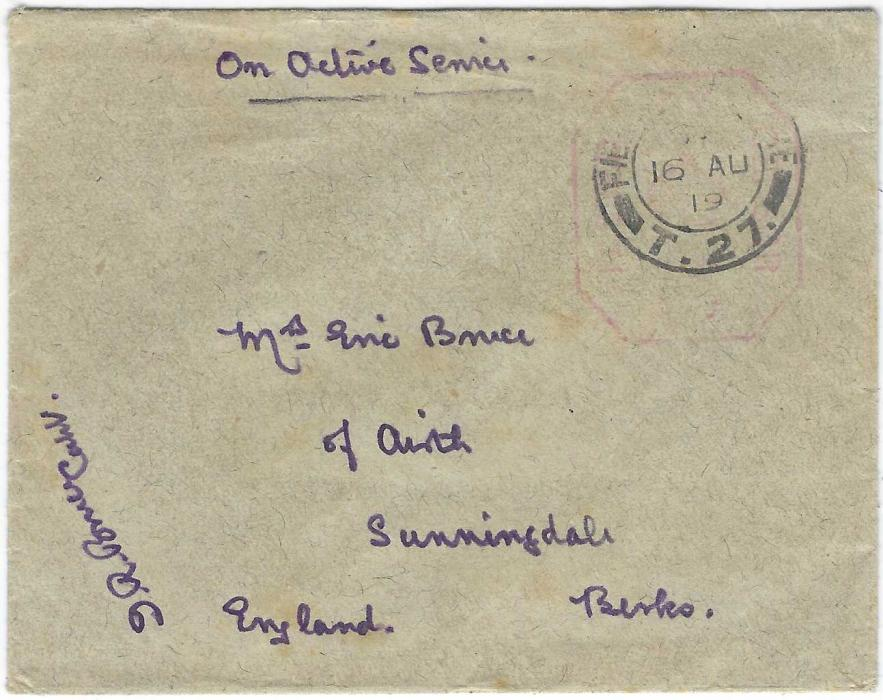 """Georgia (British Military Occupation) 1919 """"On Active Service"""" stampless envelope to Sunningdale, Berks, England bearing unclear red framed censor handstamp and fair strike of the rare FIELD POST OFFICE T.27 date stamp of 16 AU, then at Tiflis"""