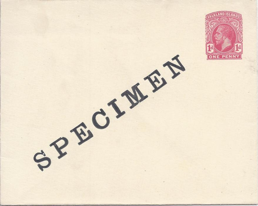 Falkland Islands 1917 1d. postal stationery envelope overprinted SPECIMEN diagonally; very fresh unused